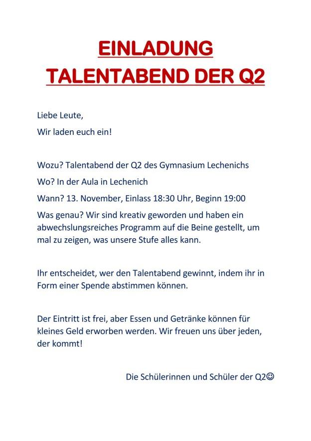 startseite | gymnasium lechenich | seite 12, Einladung